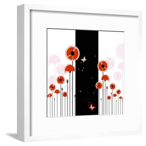 Abstract Red Poppy On Black And White Background-meikis-Framed Art Print
