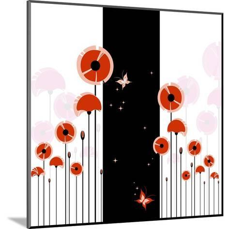 Abstract Red Poppy On Black And White Background-meikis-Mounted Art Print
