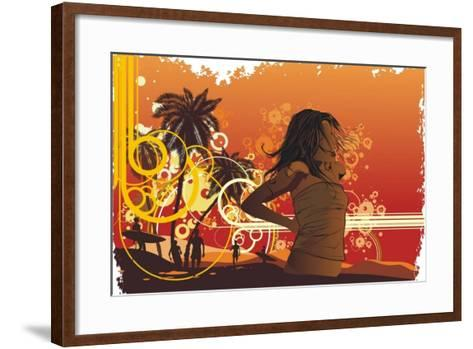 Girl,Tropical Island, Palm Trees On A Beach- gudron-Framed Art Print