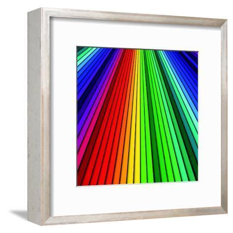 Abstract Color Background Spectrum Lines-Lukas Kurka-Framed Art Print