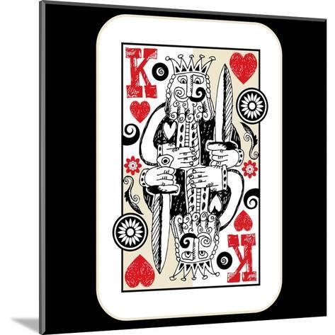 Hand Drawn Deck Of Cards, Doodle King Of Hearts-Andriy Zholudyev-Mounted Art Print