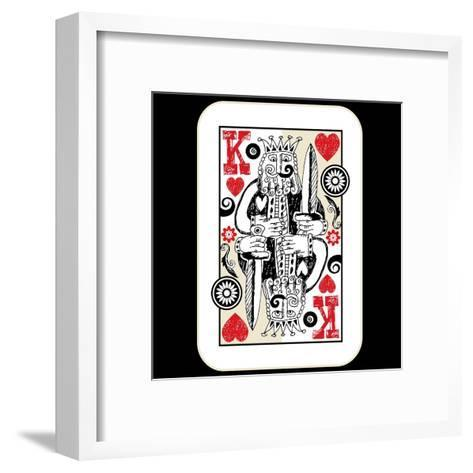Hand Drawn Deck Of Cards, Doodle King Of Hearts-Andriy Zholudyev-Framed Art Print