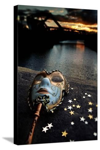 Venetian Mask By The River Bridge With Sunset-passigatti-Stretched Canvas Print