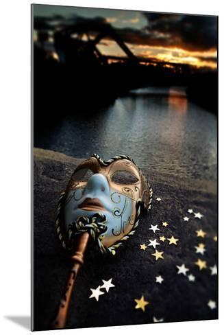 Venetian Mask By The River Bridge With Sunset-passigatti-Mounted Art Print