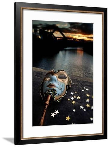 Venetian Mask By The River Bridge With Sunset-passigatti-Framed Art Print