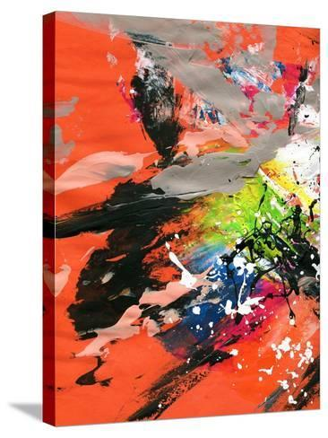 Red Abstract Painting With Expressive Brush Strokes-run4it-Stretched Canvas Print