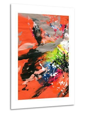 Red Abstract Painting With Expressive Brush Strokes-run4it-Metal Print