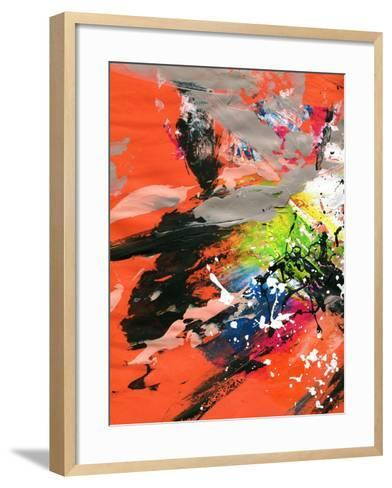Red Abstract Painting With Expressive Brush Strokes-run4it-Framed Art Print