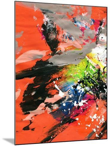 Red Abstract Painting With Expressive Brush Strokes-run4it-Mounted Art Print