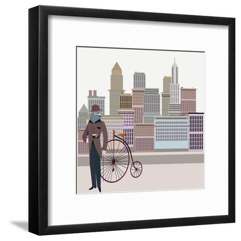 Retro New York Illustration - Vintage Bird On A Bike-run4it-Framed Art Print