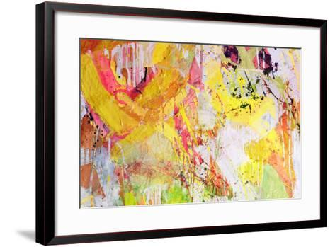 Mixed Technics, Expression Abstract Painting-dpaint-Framed Art Print