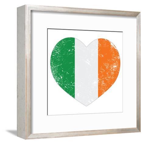 Ireland Heart Retro Flag - St Patricks Day-RedKoala-Framed Art Print