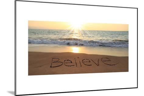 Believe Written In The Sand At The Beach-Hannamariah-Mounted Art Print