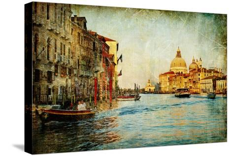 Grand Channel -Venice - Artwork In Painting Style-Maugli-l-Stretched Canvas Print