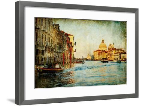 Grand Channel -Venice - Artwork In Painting Style-Maugli-l-Framed Art Print