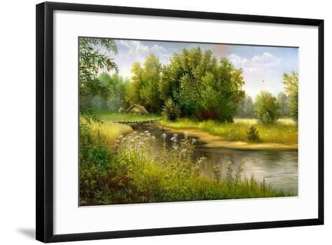 Summer Wood Lake With Trees And Bushes-balaikin2009-Framed Art Print