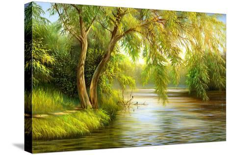 Summer Wood Lake With Trees And Bushes-balaikin2009-Stretched Canvas Print