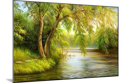 Summer Wood Lake With Trees And Bushes-balaikin2009-Mounted Art Print