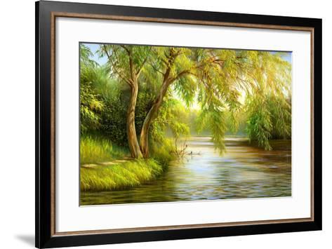 Summer Wood Lake With Trees And Bushes-balaikin2009-Framed Art Print