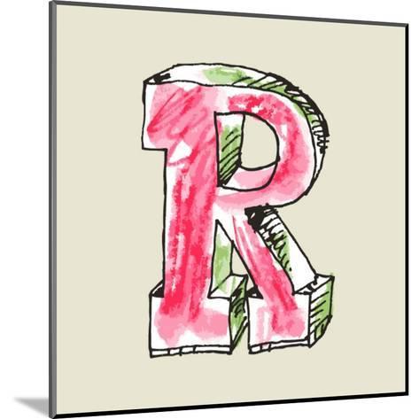 Crayon Alphabet, Hand Drawn Letter R-Andriy Zholudyev-Mounted Art Print