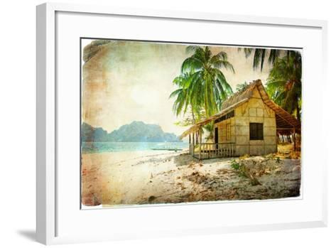 Tropical Bugalow -Retro Styled Picture-Maugli-l-Framed Art Print