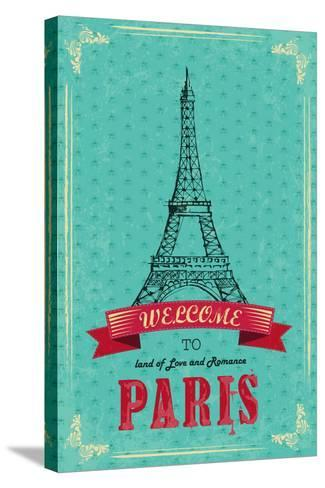 Eiffel Tower For Retro Travel Poster-stockshoppe-Stretched Canvas Print