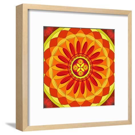 Floral Mandala Drawing Sacred Circle-AGCuesta-Framed Art Print