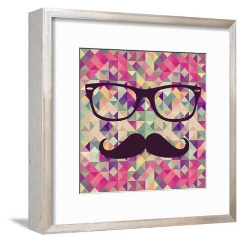 Geometric Hipster Face-cienpies-Framed Art Print