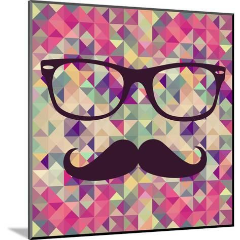 Geometric Hipster Face-cienpies-Mounted Art Print