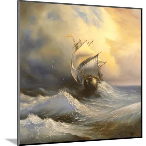 Ancient Sailing Vessel In Stormy Sea-balaikin2009-Mounted Art Print