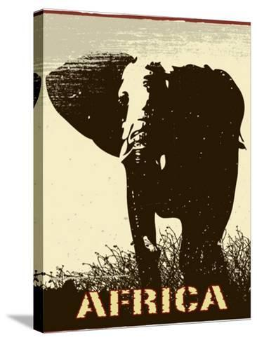Africa Image With Elephant Silhouette-Phase4Photography-Stretched Canvas Print