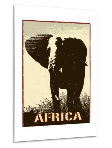 Africa Image With Elephant Silhouette-Phase4Photography-Metal Print