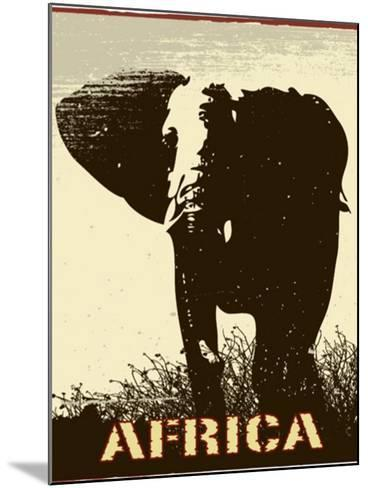Africa Image With Elephant Silhouette-Phase4Photography-Mounted Art Print