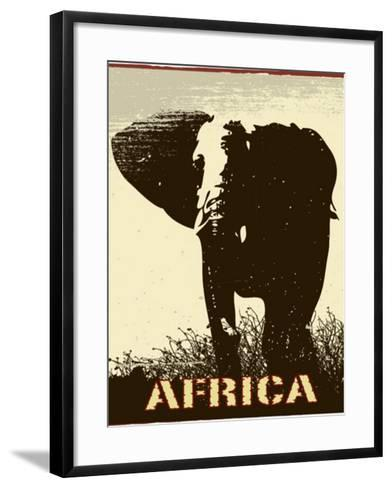Africa Image With Elephant Silhouette-Phase4Photography-Framed Art Print