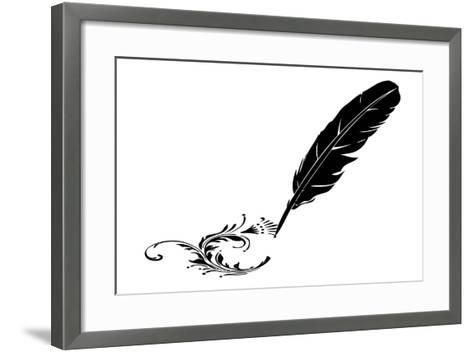 Black-And-White Feather And Flourish--Framed Art Print