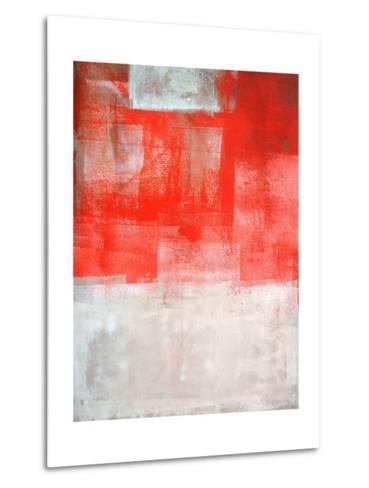 Beige And Coral Abstract Art Painting-T30Gallery-Metal Print