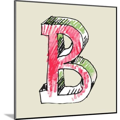 Crayon Alphabet, Hand Drawn Letter B-Andriy Zholudyev-Mounted Art Print