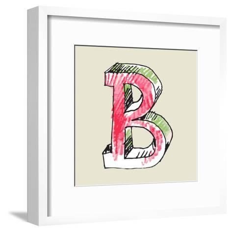 Crayon Alphabet, Hand Drawn Letter B-Andriy Zholudyev-Framed Art Print