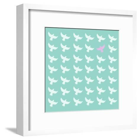 Pink Bird Differrent From The Other-Sira Anamwong-Framed Art Print
