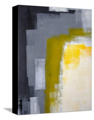 Grey And Yellow Abstract Art Painting-T30Gallery-Stretched Canvas Print