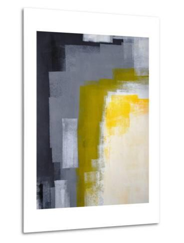 Grey And Yellow Abstract Art Painting-T30Gallery-Metal Print