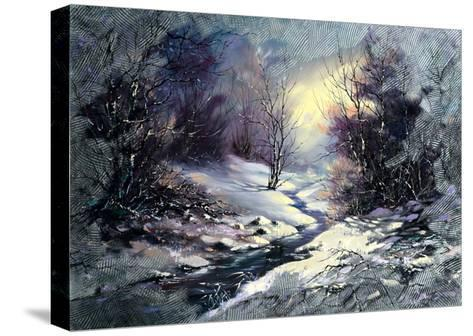 Landscape With Winter Wood Small River-balaikin2009-Stretched Canvas Print