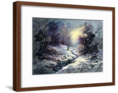 Landscape With Winter Wood Small River-balaikin2009-Framed Art Print