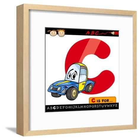 Letter C With Car Cartoon Illustration-Igor Zakowski-Framed Art Print