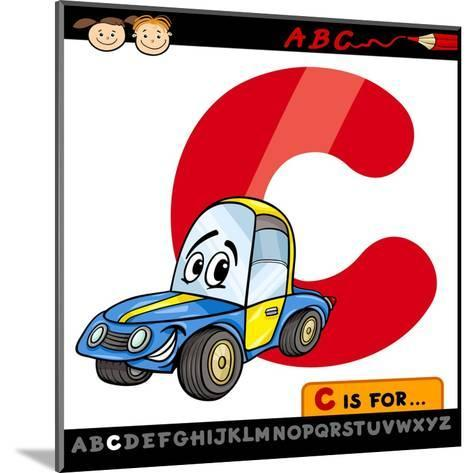 Letter C With Car Cartoon Illustration-Igor Zakowski-Mounted Art Print