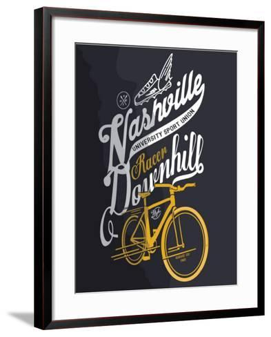 Illustration Sketch Bicycle With Type-studiohome-Framed Art Print