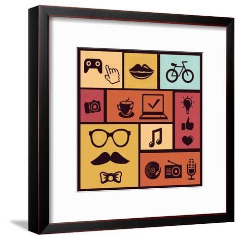 Trendy Hipster Icons-venimo-Framed Art Print