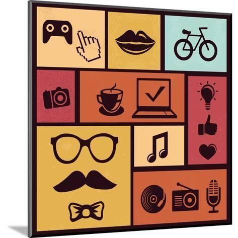 Trendy Hipster Icons-venimo-Mounted Art Print
