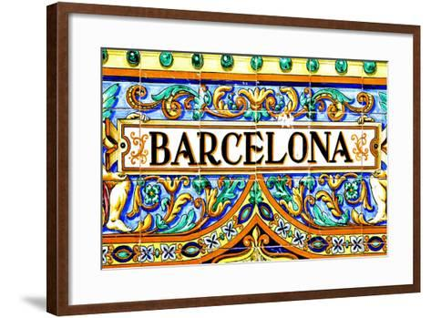 A Barcelona Sign Over A Mosaic Wall-nito-Framed Art Print