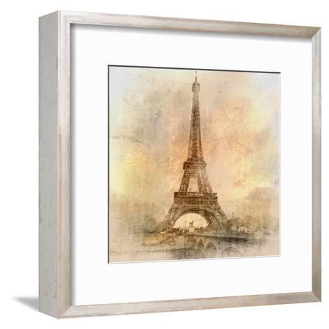 Retro Styled Background - Eiffel Tower-Maugli-l-Framed Art Print